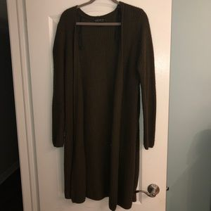 Forever 21+Army Green Knot Cardigan